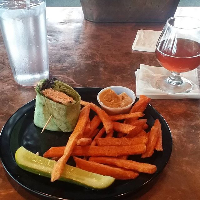 """Getting my head right with a late lunch at #BlackLotusBrewingCompany. It's the Wasabi Salmon Wrap. Ask for it """"Nadir Style"""""""