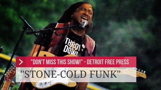 """The Detroit Free Press says, """"DON'T MISS THIS SHOW! Nadir Omowale and his top-notch ensemble make STONE-COLD FUNK, furiously stirring together piquant flavors of everything from Parliament to Prince."""" GET SOME!ARTS, BEATS & EATSSUNDAY 2PSoaring Eagle Rock Stage@simonewinterexperience @cdspooner1 @steveongtr @laurenjohnsonmusic @artsbeatseatsroyaloak"""