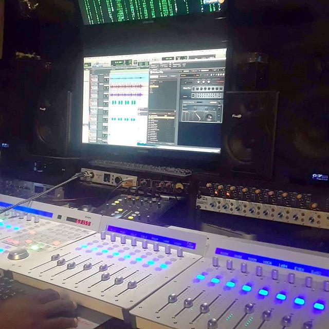 Inside the control center at EkoBase Media. Doing overdubs and editing on the @blackmailtheband EP.@iconproaudio #QConPro #QConEX #UMix1010 #OneHub #DT8AMonitors#thematrixhasyou